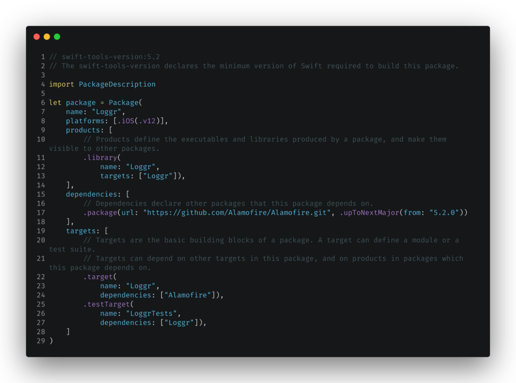Package.swift with dependencies